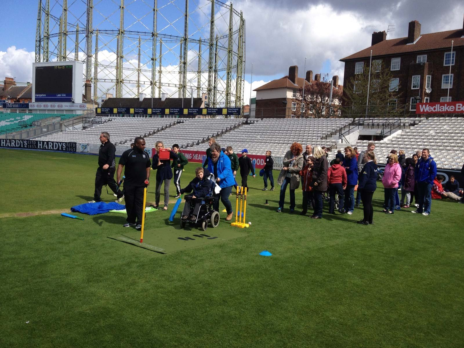 The cricket coaching mat is used at the Brit Oval for a disability day